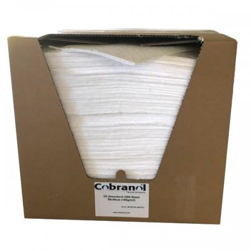 Cobranol Olieabsorber Måtte 50x40cm / 180g/m2 (200 stk.) i smart Dispenserbox