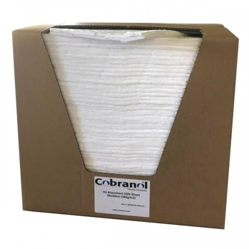 Cobranol Olieabsorber Måtte 50x40cm / 360g/m2 (100 stk.) i smart Dispenserbox